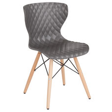 Bedford Contemporary Design Gray Plastic Chair with Wooden Legs