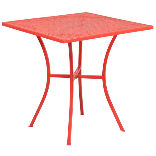 """Our Commercial Grade 28"""" Square Coral Indoor-Outdoor Steel Patio Table is on sale now."""