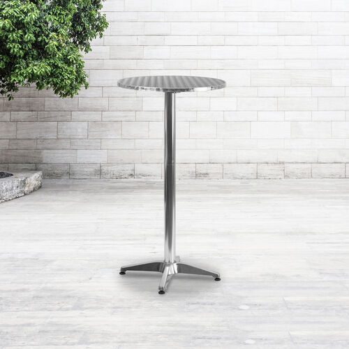 "Our 23.25"" Round Aluminum Indoor-Outdoor Bar Height Table with Flip-Up Table is on sale now."