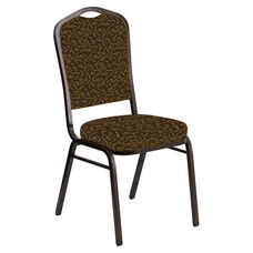 Embroidered Crown Back Banquet Chair in Jasmine Amber Fabric - Gold Vein Frame