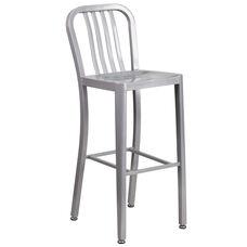 "30"" High Silver Metal Indoor-Outdoor Barstool with Vertical Slat Back"