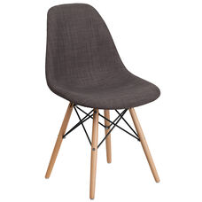 Elon Series Siena Gray Fabric Chair with Wood Base