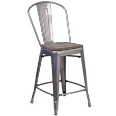 """24"""" High Clear Coated Counter Height Stool with Back and Wood Seat"""
