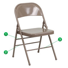 HERCULES Series Triple Braced & Double Hinged Beige Metal Folding Chair