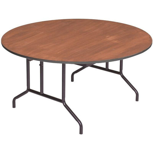 Our Round Sealed and Stained Plywood Top Table with Vinyl T - Molding Edge - 72