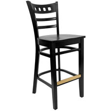 American Back Barstool with Black Finish and Wood Seat