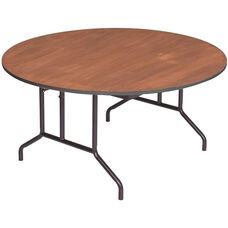 Round Sealed and Stained Plywood Top Table with Vinyl T - Molding Edge - 60'' Diameter x 29''H