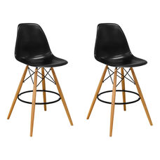 Paris Tower Barstool with Wood Legs and Black Seat - Set of 2