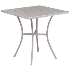 "Commercial Grade 28"" Square Light Gray Indoor-Outdoor Steel Patio Table"