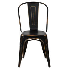 Oscar Steel Powder Coated Stackable Armless Chair - Antique Black