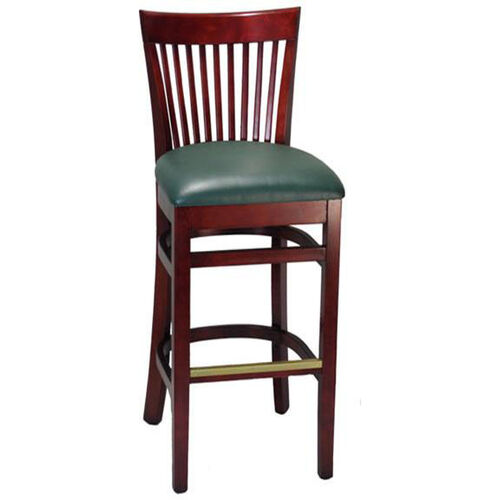 Elongated Vertical Slat Back Barstool