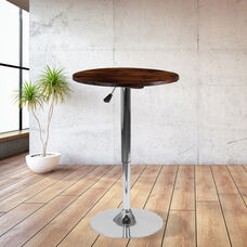 23.5'' Round Adjustable Height Rustic Pine Wood Table (Adjustable Range 26.25'' - 35.5'')