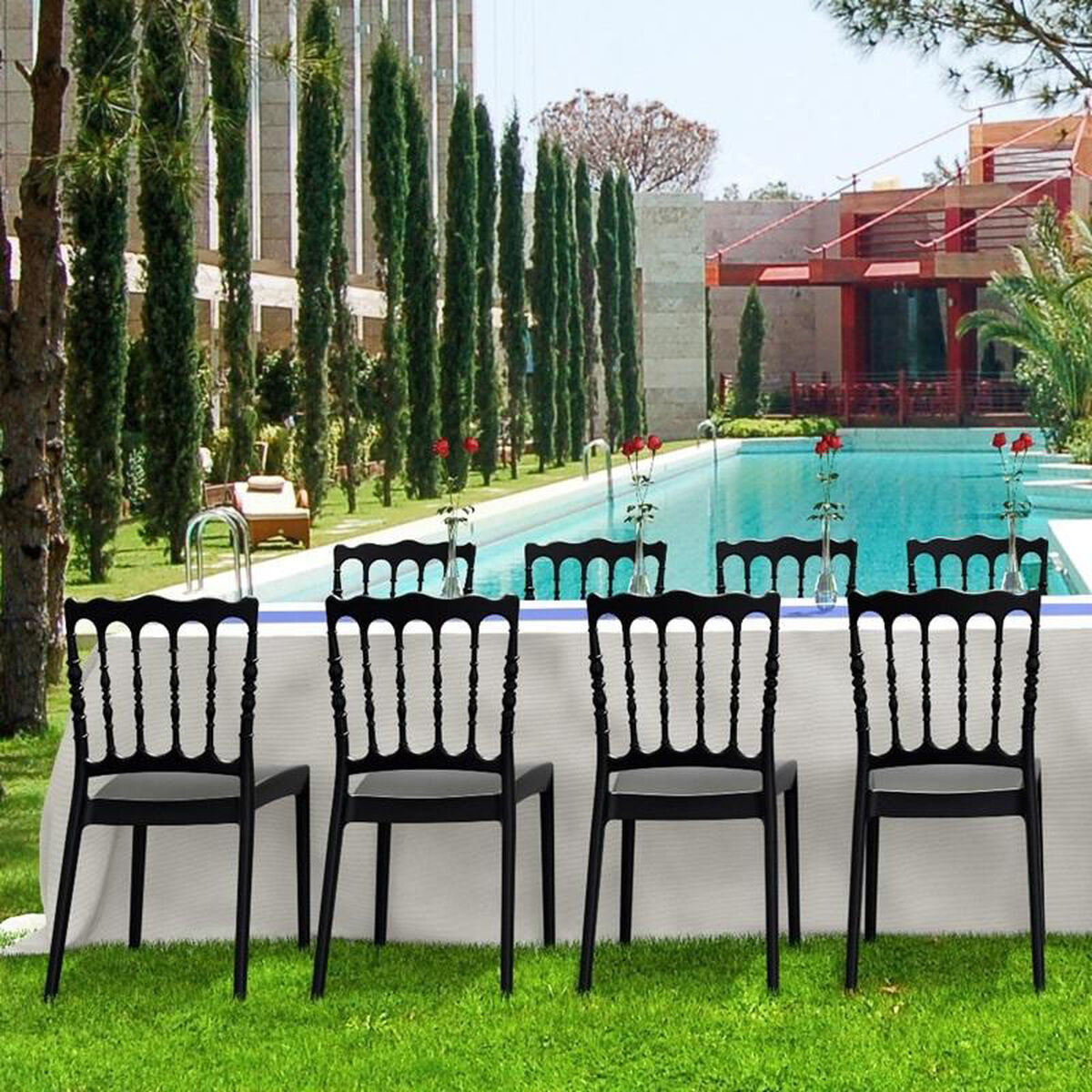 Our Napoleon Outdoor Resin Stackable Wedding Chair Black Is On Now