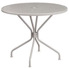 "Commercial Grade 35.25"" Round Light Gray Indoor-Outdoor Steel Patio Table"
