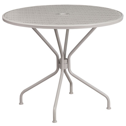 "Our Commercial Grade 35.25"" Round Light Gray Indoor-Outdoor Steel Patio Table is on sale now."