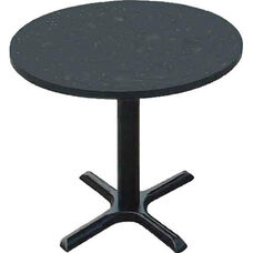 Laminate Top Round Cafe Table with 29''H Cast Iron X-Base - 36'' Diameter