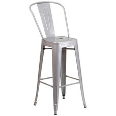 """Commercial Grade 30"""" High Silver Metal Indoor-Outdoor Barstool with Back"""