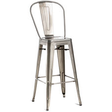 Oscar Steel Armless Barstool - Set of 2 - Brushed Gun Metal