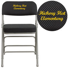 Embroidered HERCULES Series Premium Curved Triple Braced & Double-Hinged Black Pin-Dot Fabric Metal Folding Chair