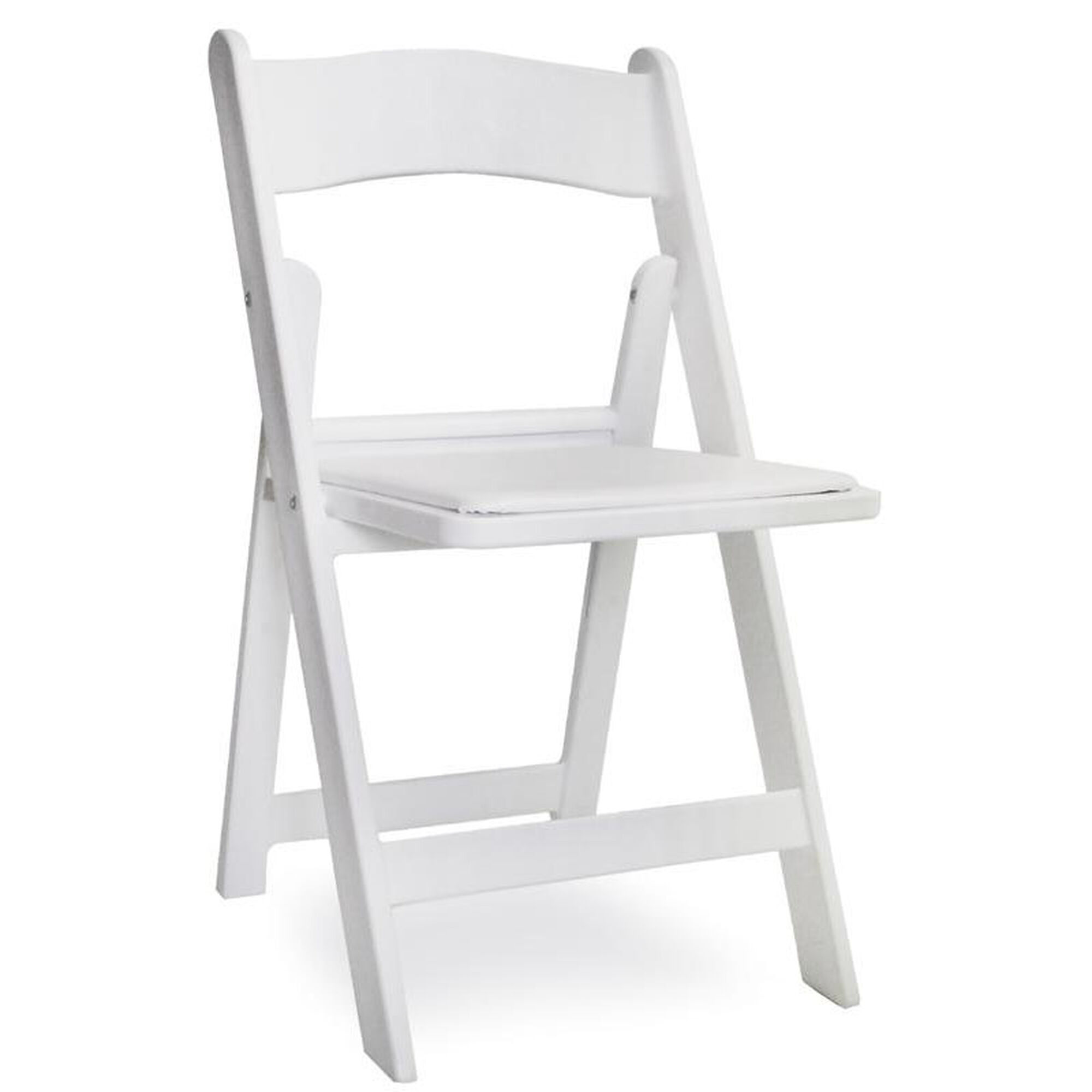 Brilliant Gala Resin Steel Reinforced Stackable Folding Chair With Padded Seat White Squirreltailoven Fun Painted Chair Ideas Images Squirreltailovenorg
