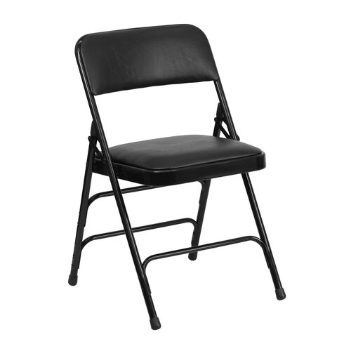 Our HERCULES Series Curved Triple Braced & Double Hinged Black Vinyl Metal Folding Chair is on sale now.