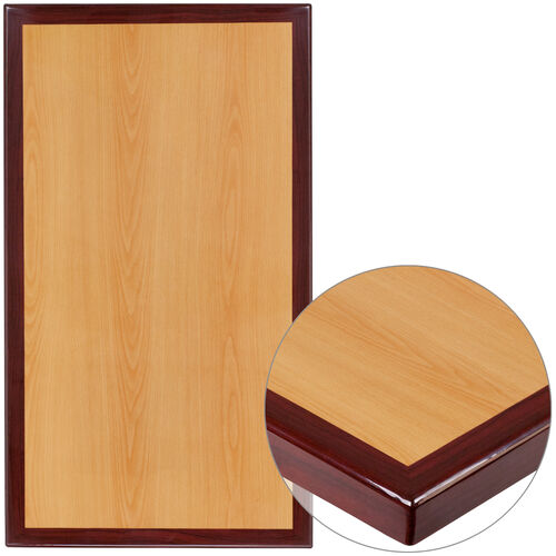 """Our 30"""" x 48"""" Rectangular 2-Tone High-Gloss Cherry Resin Table Top with 2"""" Thick Mahogany Edge is on sale now."""