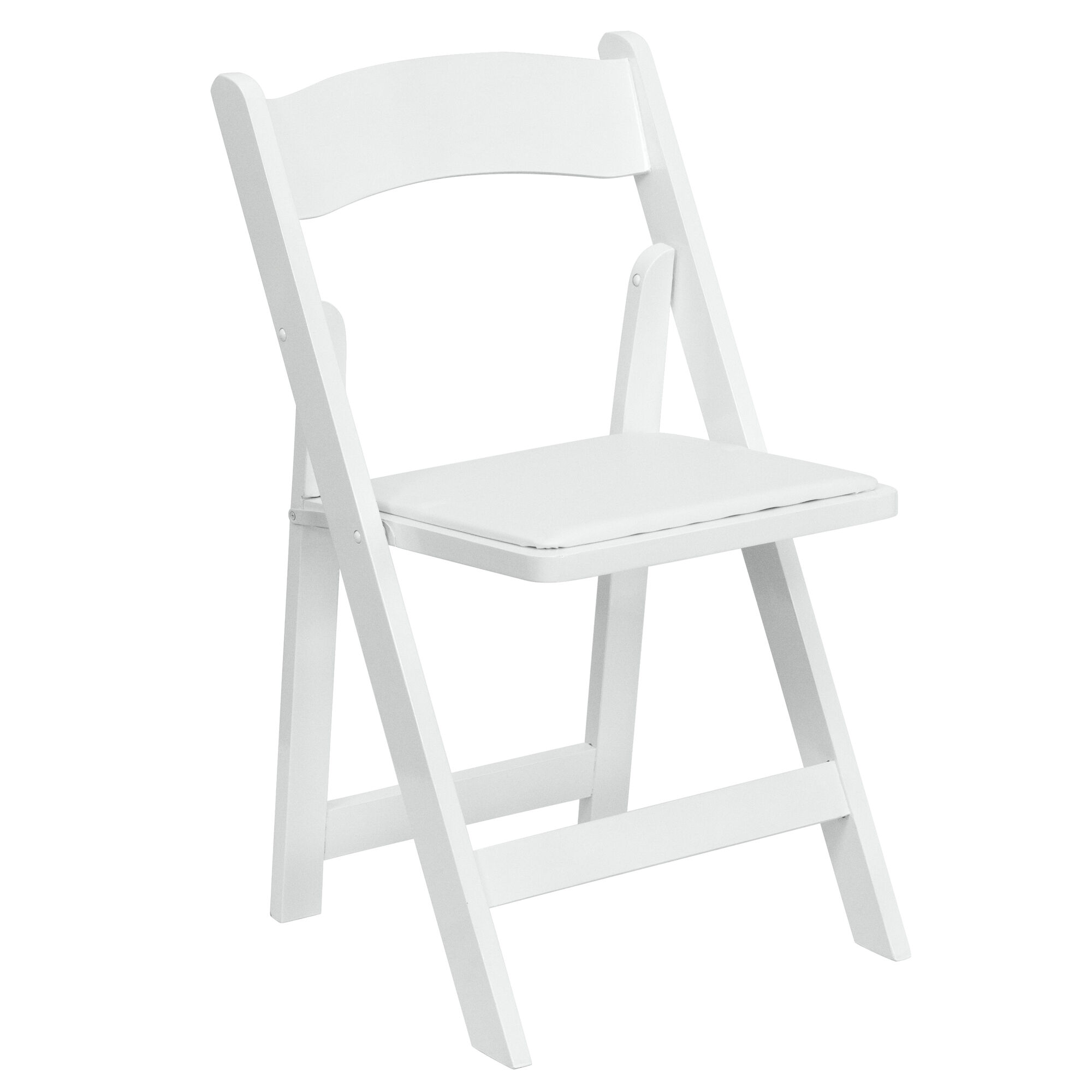 Surprising Hercules Series White Wood Folding Chair With Vinyl Padded Seat Pabps2019 Chair Design Images Pabps2019Com