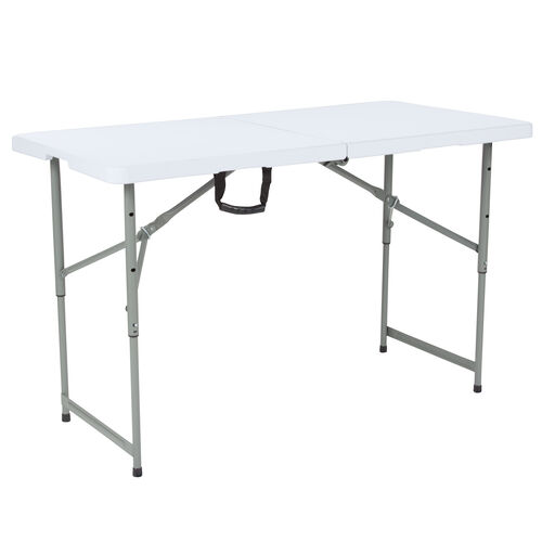 """Our 24""""W x 48""""L Height Adjustable Bi-Fold Granite White Plastic Folding Table is on sale now."""