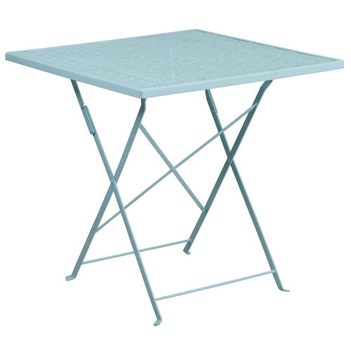 """Our Commercial Grade 28"""" Square Sky Blue Indoor-Outdoor Steel Folding Patio Table is on sale now."""