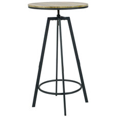 Vintage Industrial Height Adjustable 24'' Round Swivel Table with Wood Top - Black