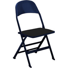 2000 Series Vinyl Upholstered Seat and Steel Back Panel Folding Chair with 14.25'' Seat Depth