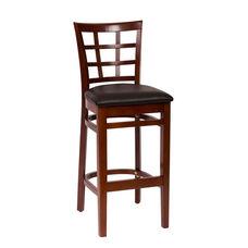 Pennington Mahogany Wood Window Pane Barstool - Vinyl Seat