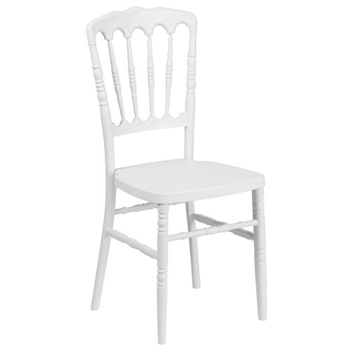 """Our HERCULES Series White Resin Stacking Napoleon Chair with <span style=""""color:#0000CD;"""">Free </span> Cushion is on sale now."""
