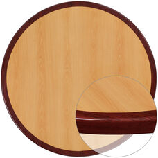 30'' Round 2-Tone High-Gloss Cherry Resin Table Top with 2'' Thick Mahogany Edge
