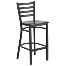 HERCULES Series Black Ladder Back Metal Restaurant Barstool - Walnut Wood Seat