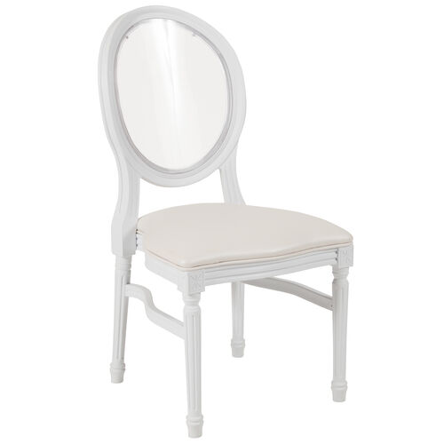 Our HERCULES Series 900 lb. Capacity King Louis Chair with Transparent Back and Vinyl Seat is on sale now.