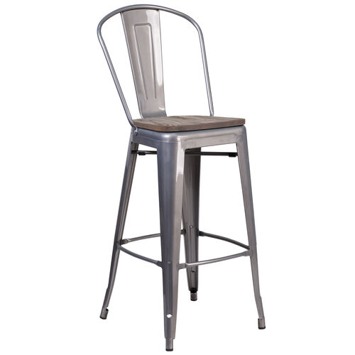 """Our 30"""" High Clear Coated Barstool with Back and Wood Seat is on sale now."""