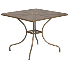 """Commercial Grade 35.5"""" Square Gold Indoor-Outdoor Steel Patio Table"""