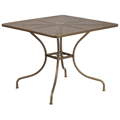 """Our Commercial Grade 35.5"""" Square Gold Indoor-Outdoor Steel Patio Table is on sale now."""