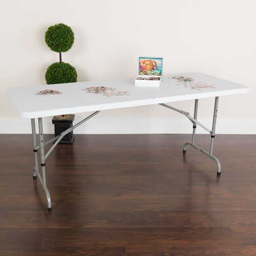 Our 6-Foot Height Adjustable Granite White Plastic Folding Table is on sale now.