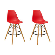 Paris Tower Barstool with Wood Legs and Red Seat - Set of 2