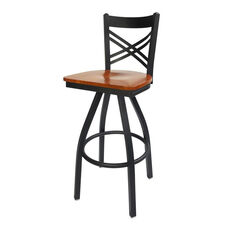 Akrin Metal Cross Back Swivel Barstool - Cherry Wood Seat