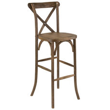 HERCULES Series Dark Antique Wood Cross Back Barstool