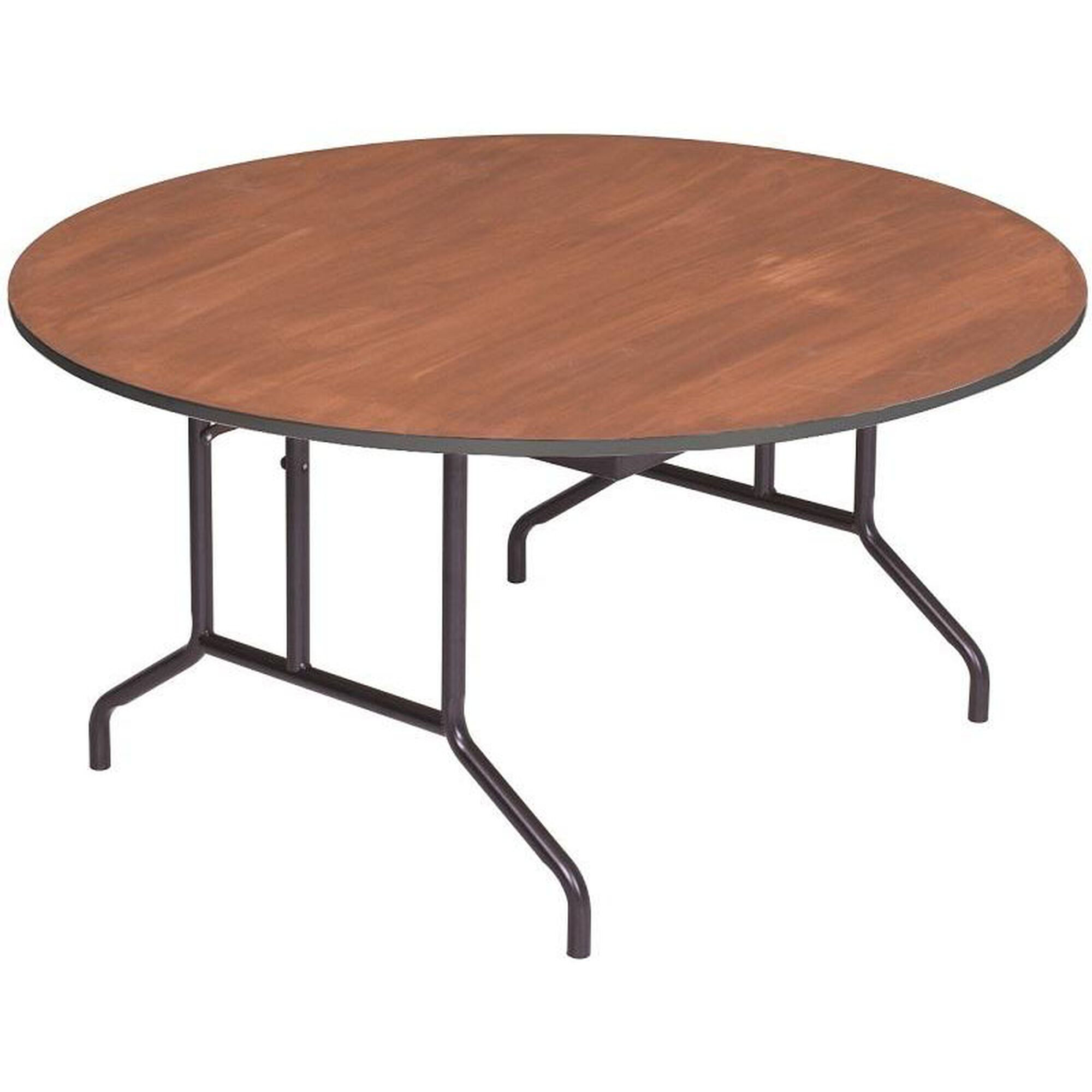 Round Sealed And Stained Plywood Top Table With Vinyl T Molding Edge 60 Diameter X 29 H