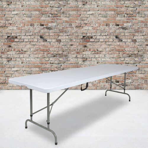 Our 8-Foot Height Adjustable Bi-Fold Granite White Plastic Banquet and Event Folding Table with Carrying Handle is on sale now.