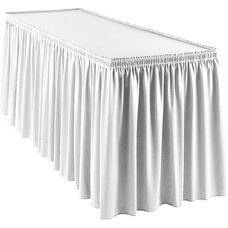 Wyndham 21 Foot Shirred Pleat Table Skirt with SnugTight™ Clips - White