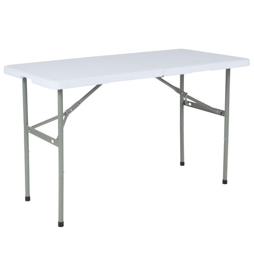 "Our 24""W x 48""L Bi-Fold Granite White Plastic Folding Table is on sale now."