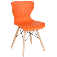 Bedford Contemporary Design Orange Plastic Chair with Wooden Legs