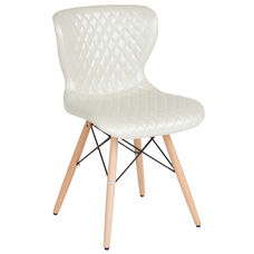 Riverside Contemporary Upholstered Chair with Wooden Legs in Ivory Vinyl
