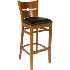 Coin Back Bar Stool in Cherry Wood Finish